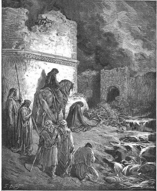 Nehemiah surveying the walls of Jerusalem